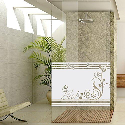 Sichtschutzdekor Duschtür Dusche Milchglasfolie für Badezimmer Bad Ornament (Größe=80x57cm)