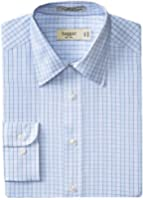 Haggar Men's Check Poplin Fancy Long Sleeve Regular Fit Point Collar Shirt