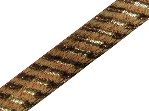 4 Yard Light Brown Base Metallic Ribbon Trim Lace Sewing
