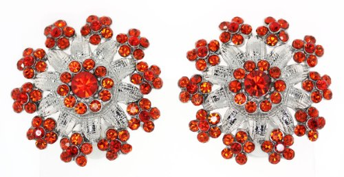 Large Victorian Silver Toned Flower Clip-on Earrings with Red Austrian Crystals