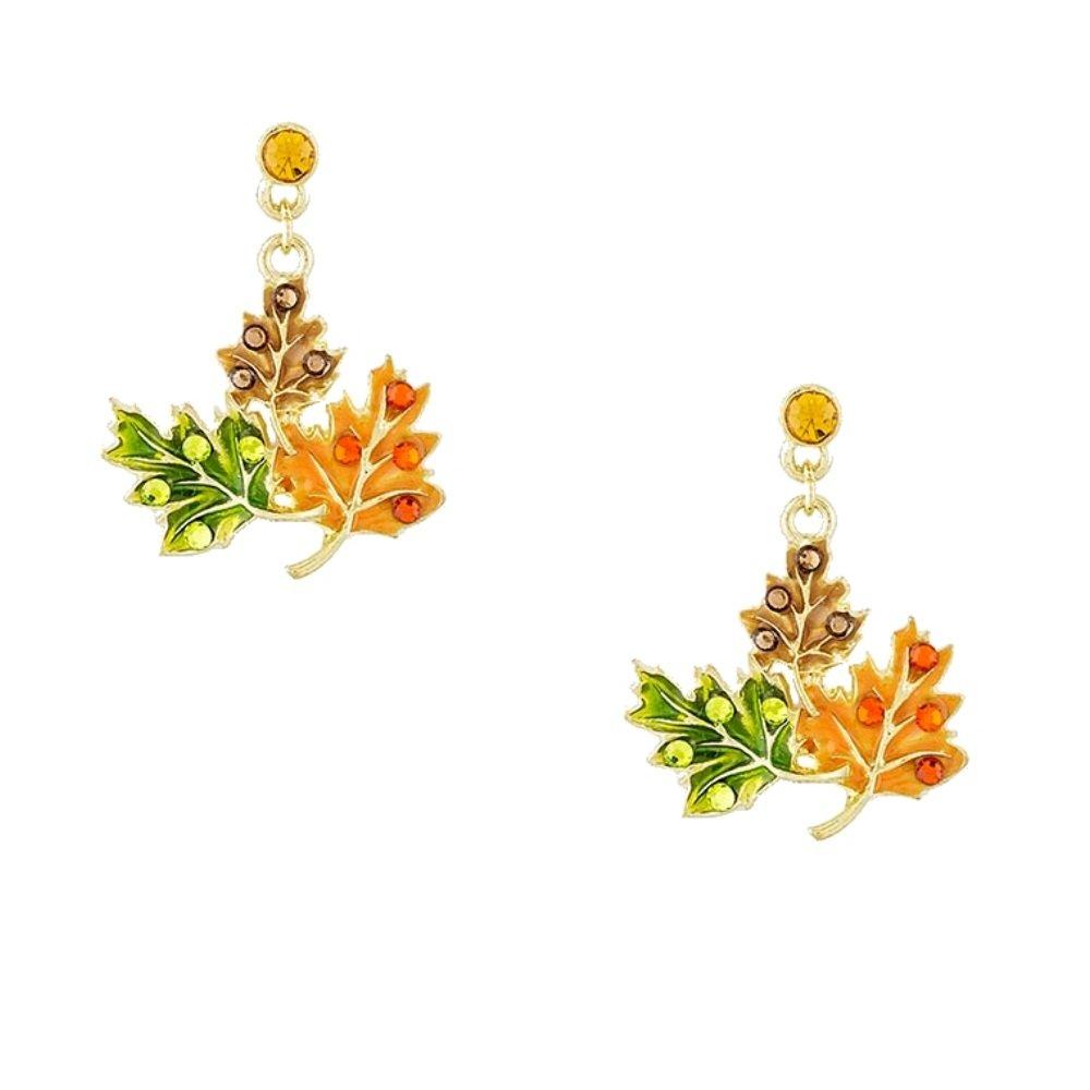 Triple Leaf Fall Holiday Earrings with Rhinestones