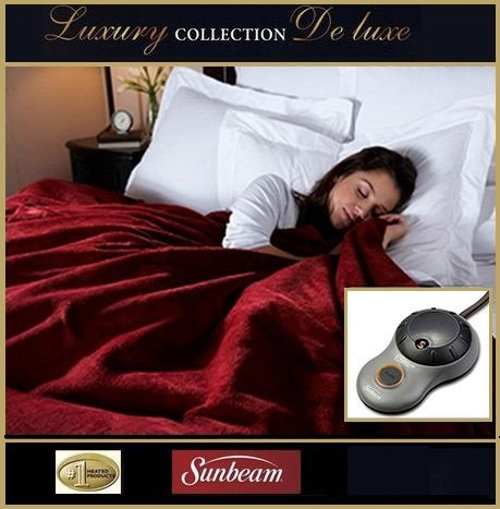 Twin $170 ~Garnet~ Sunbeam Luxury Collection Deluxe Royal Mink Heated Heating Electric Blanket