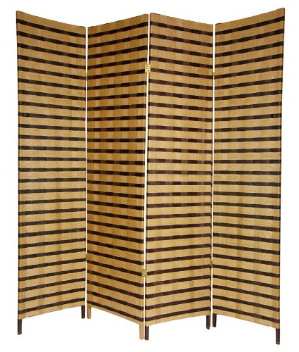 Best Simple Inexpensive Durable Room Divider - 6ft. Rattan Style Two Tone Woven Fiber Folding Screen Partition - 4 Panel