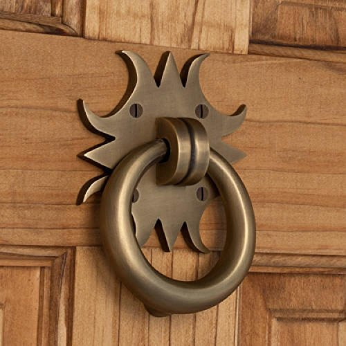 Naiture Solid Brass Sun Shape Door Knocker Antique Brass Finish