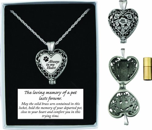Pet Memorial Heart Locket Always in My Heart Dog Cat Urn