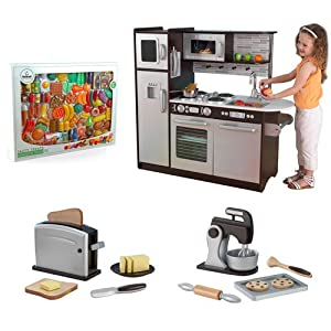 Kidkraft uptown espresso kitchen set toys games for Kitchen set game
