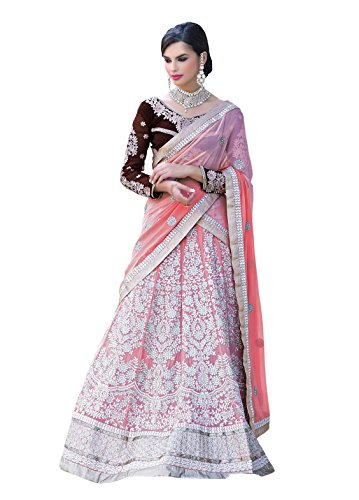 7 Colors Lifestyle Peach Coloured Net Embroidered Semi-Stitched Lehenga Choli