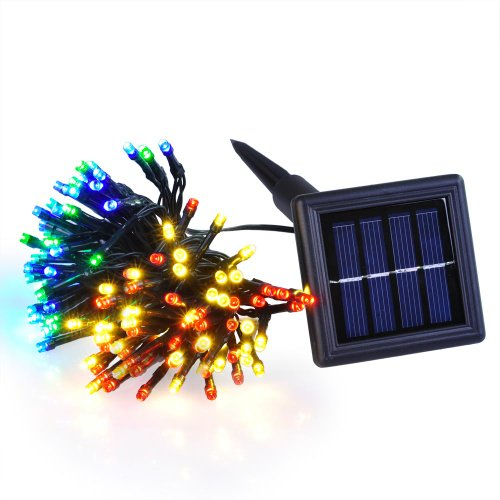 Bright Red/Yellow/Blue/Green 100 High Powered Leds Super Waterproof Energy-Efficient Sensored Rechargeable Battery Solar Powered Outdoor Christmas String Light