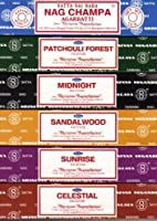 Set of 6 x 15g Boxes Incense Nag Champa Sunrise Sandalwood Midnight Patchouli Celestial by Nag Champa