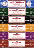 Set of 6 Incense Nag Champa Sunrise Sandalwood Midnight Patchouli Celestial By Satya
