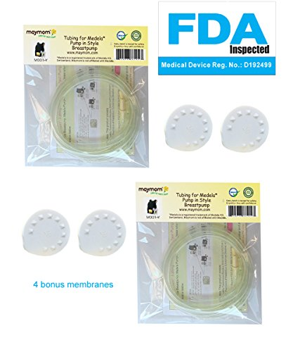 Tubing For Medela Pump In Style Advanced Breastpump Released After Jul 2006 Plus 4 Membranes In Retail Pack. Replaces Medela Tubing #8007212, 8007156 & 87212. Bpa Free. Made By Maymom (Two Packs Total 4 Tubes And 4 Membranes) front-69588