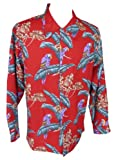 Paradise Found Mens Jungle Bird Kamehameha Style Long Sleeve Shirt