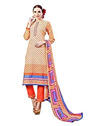 Ragini orange colored dress material