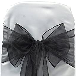 MDS 100 Organza Chair Cover Bow Sash Wedding Banquet Decor Black