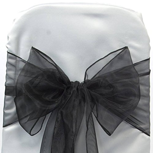 Mds Pack of 50 Organza chair sashes bow Sash for wedding and Events Supplies Party Decoration chair cover sash -black