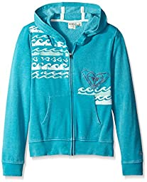 Roxy Girl Love The Waves  Full Front Zip Hooded Triblend Fleece Hoodie , Lake Blue, Large/16