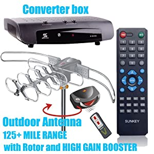 Combo 3: Sunkey Digital Atsc Converter Box+outdoor Antenna 8608 with Rotor and Amplifier