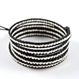 Chan Luu Sterling Silver Nugget Wrap on Black Leather