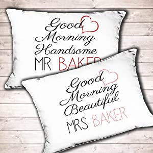 His And Hers Wedding Gifts Uk : Personalised Mr and Mrs wedding gift pillowcase set His and Hers Good ...