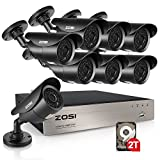 ZOSI 8CH FULL 1080p HD-TVI Security Camera System,8 Channel 1080p Surveillance DVR and (8) HD 2.0MP 1080p Weatherproof Bullet CCTV Cameras,42pcs IR Leds 120ft(40m) IR night vision 2TB Hard Drive