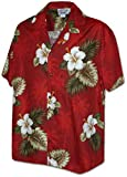 Pacific Legend Men's Hibiscus & Palm Hawaiian Shirt (2X, Red)