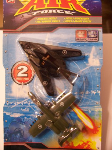 Air Force 2 Pack Die-cast Metal Airplanes ~ A-10 Thunderbolt II & F-117 Nighthawk Stealth Fighter
