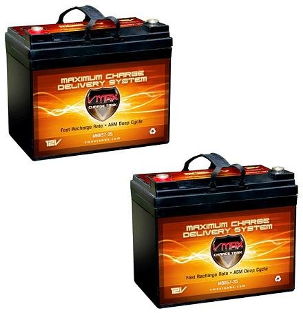 Qty2 Vmax857 Agm Deep Cycle Group U1 Battery Replacement For Electric Mobility Rascal 305 12V 35Ah Wheelchair Battery