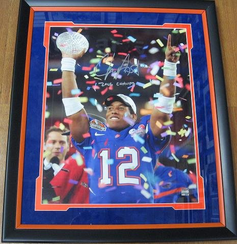 Chris Leak Autographed / Hand Signed Florida Gators 16x20 Championship Trophy Photo - with 2006 CHAMPS inscription - Custom FRAME john elway and ed mccaffrey dual autographed hand signed denver broncos 8x10 photo black custom frame