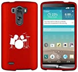 LG G4 Snap On 2 Piece Rubber Hard Case Cover Drum Set Red