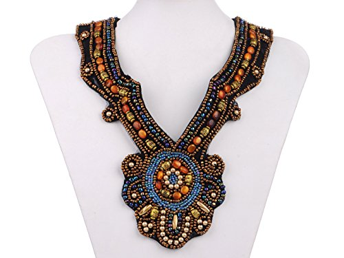 Alilang Tribal Ethnic Colorful Beaded Bib Statement Necklace