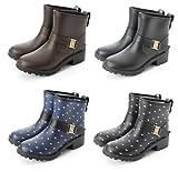 エンジニア レインブーツ ショート丈 レインシューズ 雨靴 長ぐつ ラバー 雪靴 24cm-24.5cm (ブラック/Lサイズ)