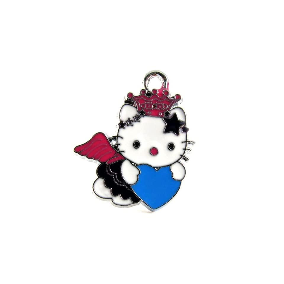 12X DIY Jewelry Making Cute Angel Hello Kitty with Pink Wings/Blue Heart Charm Enamel Pendant