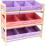 Hartleys 3 Tier Storage Unit with 9 Canvas Bins - Pink & Purple