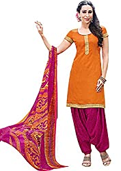Rudra Textile Women's Orange Cotton Punjabi Suit