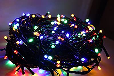 100/200/300 LED Mains Powered UK Plug Battery 8 Multi-Function with Timer String Lights Garden Party Fairy Bright Warm White Multi-coloured Black Cable