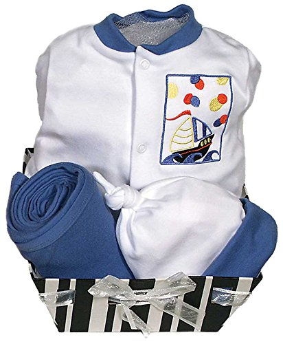 Raindrops Delightful Brights Sailboat Footie Gift Set, Royal Blue/Black, 3-6 Months, 4 Piece