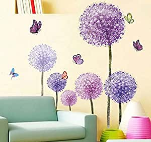 wall decal for living transparent PVC Purple dandelion AM7010