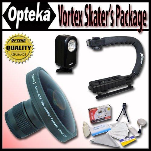 "Opteka Deluxe Vortex ""Skaters"" Package (Includes The Opteka Platinum Series 0.2X Hd Panoramic ""Vortex"" Fisheye Lens, X-Grip Camcorder Handle, & 3 Watt Video Light) For Jvc Gr-Axm17, Axm18, D275, D32, D33, D650, D71, D72, D73, D74, D850, D870, D93, D94, Df"