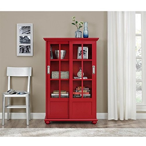 Altra Arron Lane Red Bookcase with Sliding Glass Doors | Brushed Nickel Hardware Completes This Beautiful Bookcase Altra 3 Shelf Bookcase