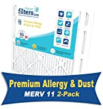 CleanerFilters 20X20x2 Air Filter 2-Pack, MERV 11 Premium Allergy AC Furnace Filter