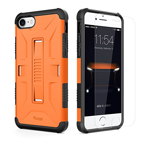 iPhone 7 Case, Slim Military Shockproof Protective Cover with [Tempered Glass Screen Protector] Heavy Duty Hybrid Rugged Case Non-slip Grip Ultra Hard Cover Shell for Apple iPhone7-Orange