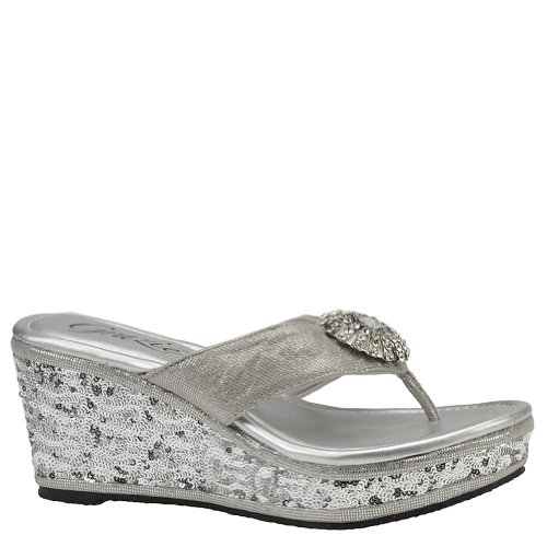 Grazie Womens Zoey Wedge Sandals Silver 9 front-925314