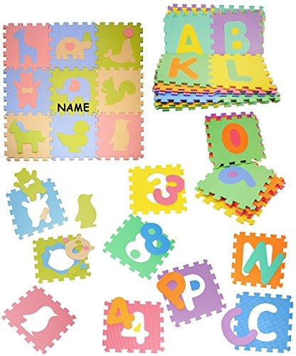 Set: Mossgummi - Puzzle Teppich - 9 Matten & verschiedene Tiere - incl. Name - zum puzzeln / Puzzleteppich EVA - Spielmatte Kinderteppich - Spieleteppich Puzzlematte - Bodenmatte - Matte / Spielteppich - für Kinder - Puzzleteppich - Kinderspielteppich / Lernteppich - Schaumstoff / Bodenschutzmatte - Tier Giraffe