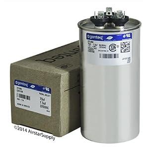 Ge Genteq Round Capacitor 70 7 5 Uf Mfd 370 Volt 27l556bz3