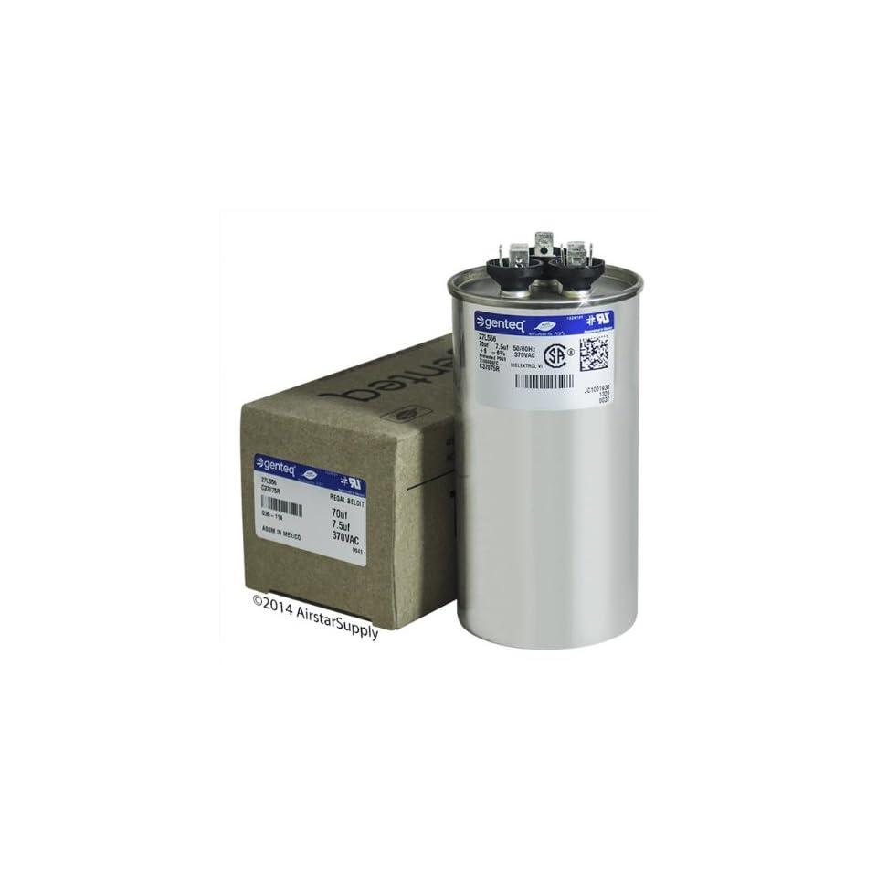 GE Genteq Round Capacitor 70 7 5 uf MFD 370 Volt 27L556BZ3 27L556 on