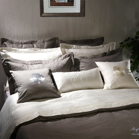 """Queen Size Duvet Cover In Grey Color Jacquard-""""Padova"""" Collection front-1019639"""