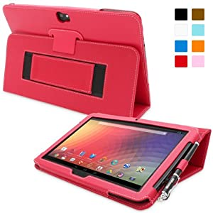 Snugg Nexus 10 Leather Case in Red - Flip Stand Cover with Elastic Strap and Premium Nubuck Fibre Interior - Automatically Wakes and Puts the Google Nexus 10 to Sleep