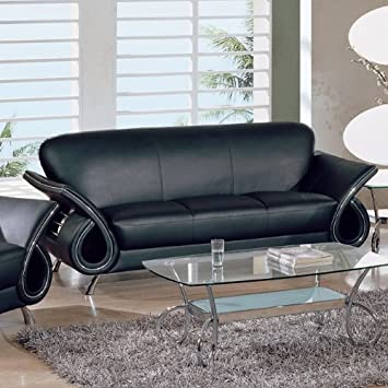 Black Leather - Leather Match Sofa By Global Furniture USA U559