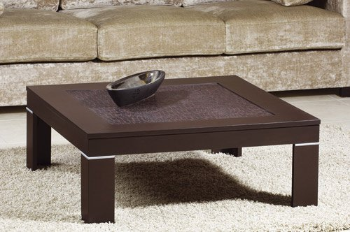 Modern Square Wenge(expresso) Color Coffee Table with Leather Top Board (B0086CRBTC)