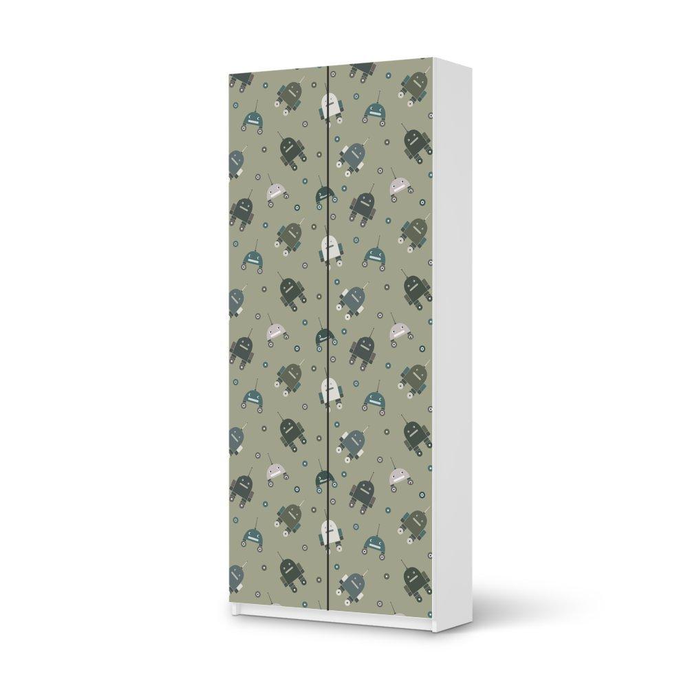 Folie IKEA Pax Schrank 236 cm Höhe – 2 Türen / Design Aufkleber Robots – Braungrau / Dekorationselement jetzt kaufen